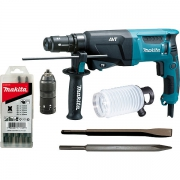 Перфоратор MAKITA HR2611FT(X5) (800Вт,SDS-Plus,2.9Дж,3реж,0-1200об/м,AVT-технология,свет,набор,кейс) **